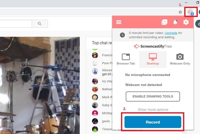 record live stream screencastify