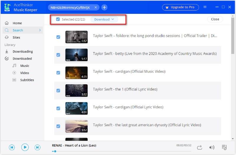 select playlist video