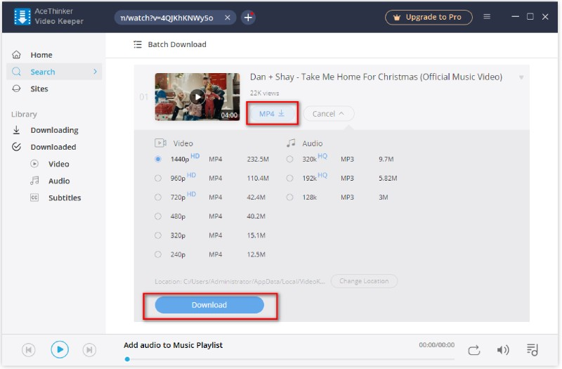 select to download video