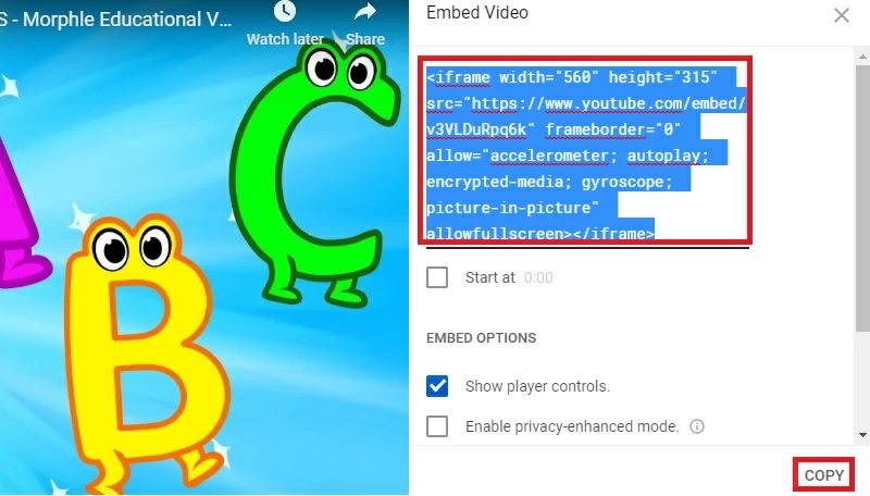 embed code step1