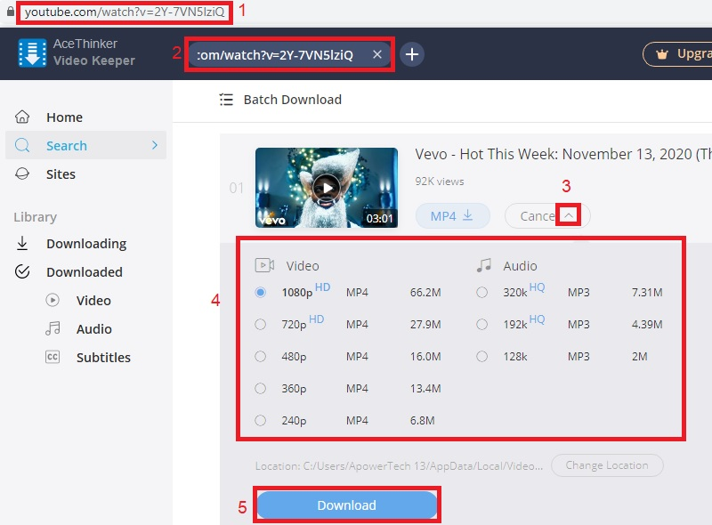 vk download youtube vevo step2