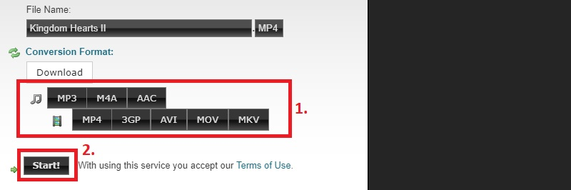 html5 video download clip converter step2