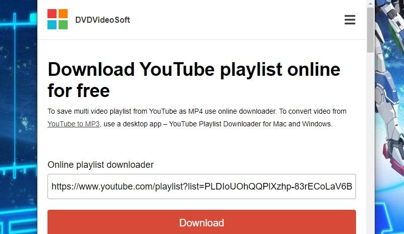 download youtube playlist dvdvideosoft