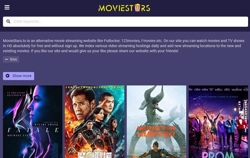 free movie streaming sites no sign up moviestars
