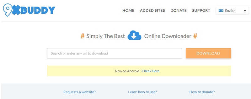 sites like 9xbuddy interface